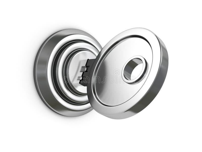 Clé métallique dans la serrure sur le fond blanc illustration de vecteur
