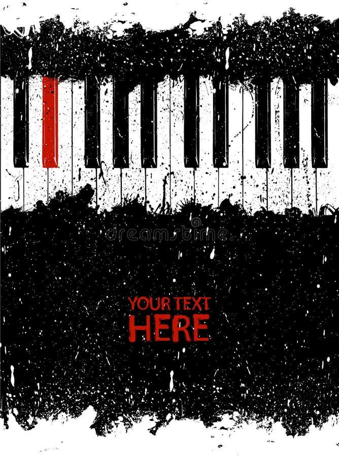Clé rouge modifiée de piano illustration stock