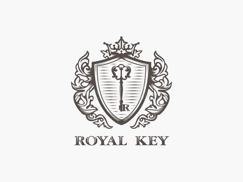 Clé royale de vecteur de logo professionnel moderne de signe illustration libre de droits