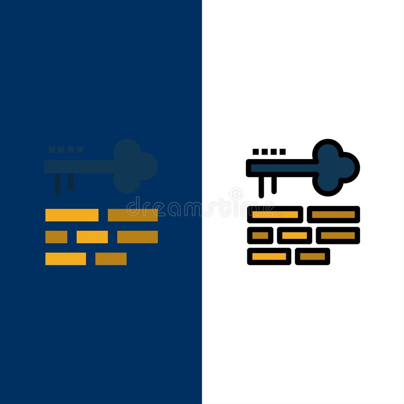 Clé, serrure, disposition, icônes d'ouverture L'appartement et la ligne icône remplie ont placé le fond bleu de vecteur illustration de vecteur