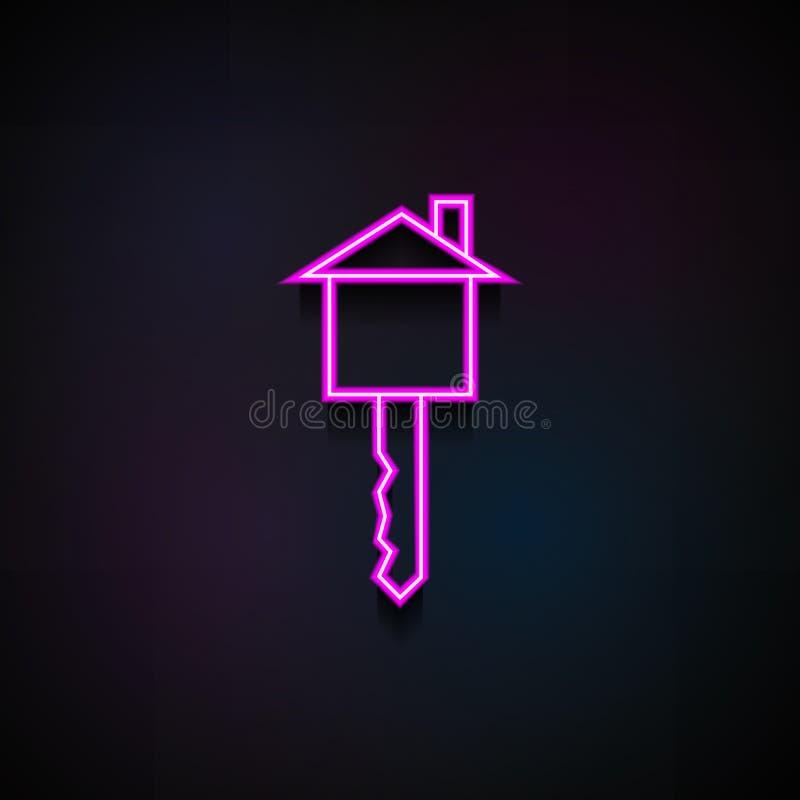 clé sous forme d'icône de maison Élément des icônes minimalistic pour les apps mobiles de concept et de Web Clé au néon sous form illustration de vecteur
