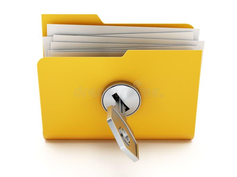 Clé sur le dossier jaune verrouillé illustration 3D illustration stock
