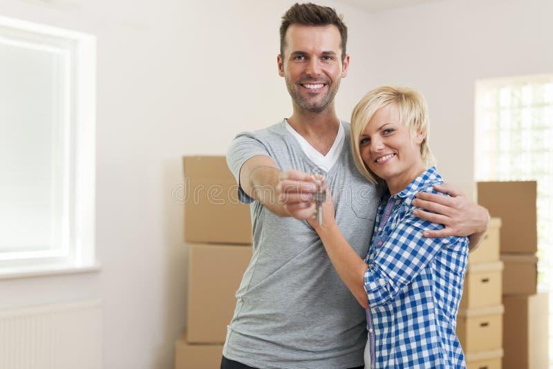 Clés à notre nouvelle maison ! photographie stock