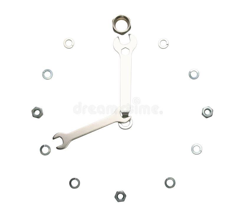 Clés, écrous, d'isolement, faits sous forme d'une horloge photo stock