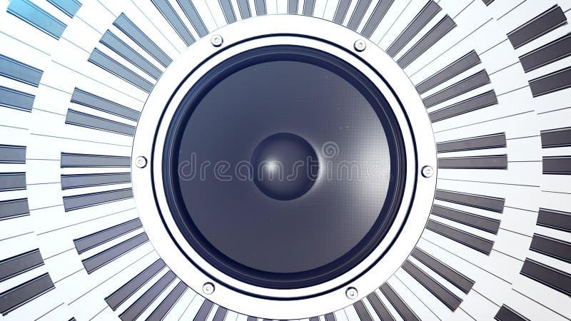Clés abstraites de piano à queue en cercle au-dessus d'un moniteur audio illustration libre de droits