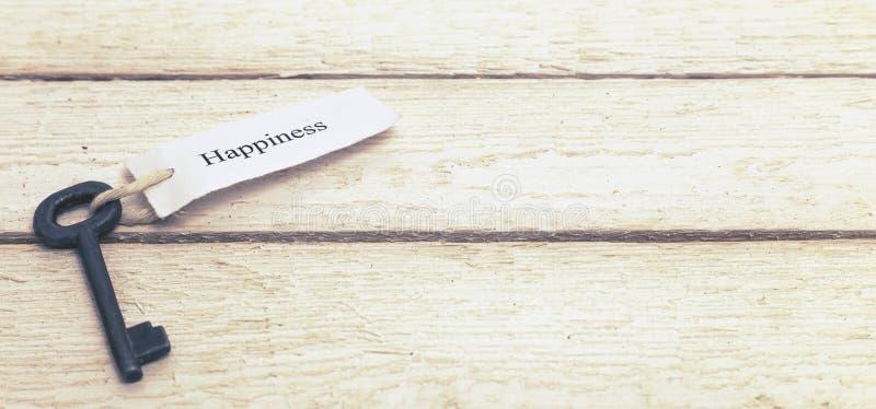 Clés au bonheur - Keychain au-dessus du fond en bois blanc toned photos libres de droits