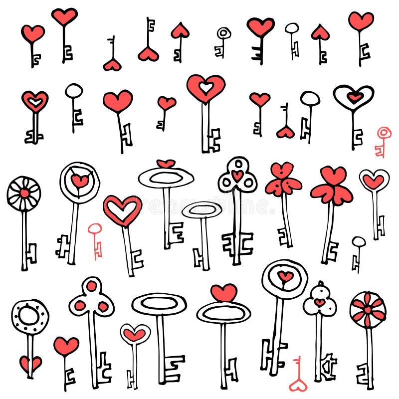 Clés d'ensemble de main-dessin de coeurs illustration de vecteur