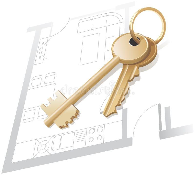 Clés d'or, plan à la maison, objet immobilier. illustration stock