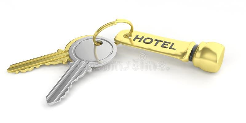 Clés de chambre d'hôtel sur le fond blanc illustration 3D illustration libre de droits