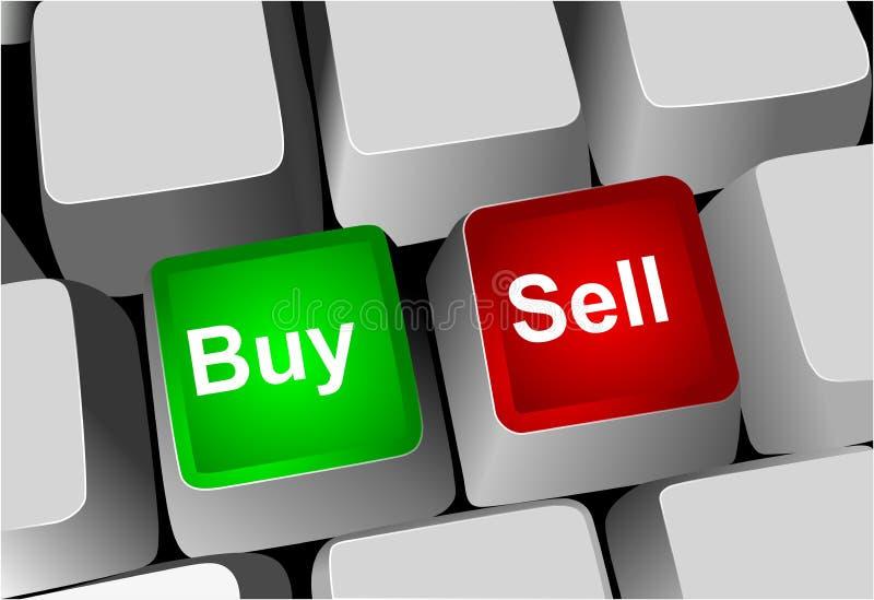 Clés de clavier, d'achat et de vente illustration stock