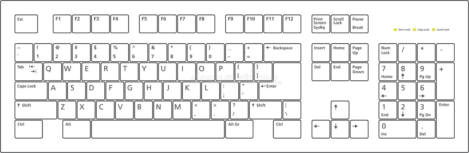 Clés de la disposition de clavier 101 illustration de vecteur