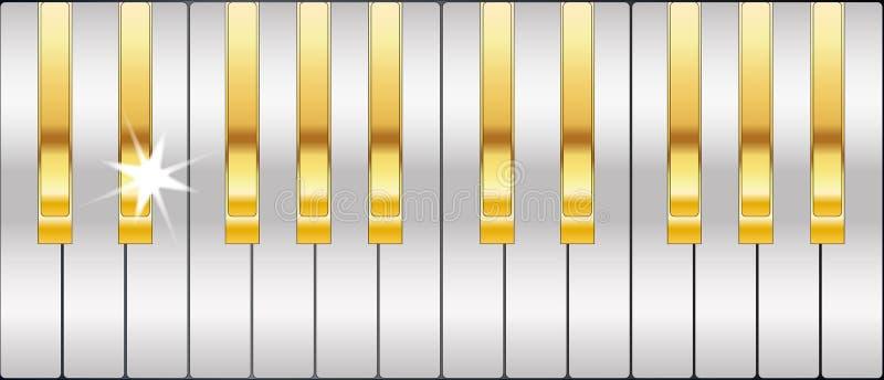 Clés de piano d'or et d'argent illustration de vecteur