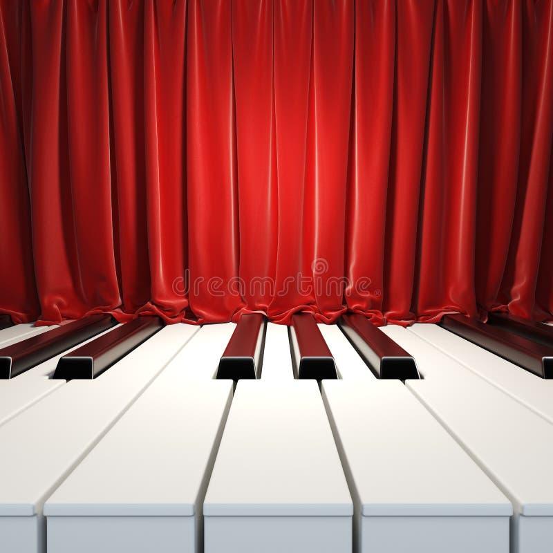 Clés de piano et rideaux rouges. illustration de vecteur