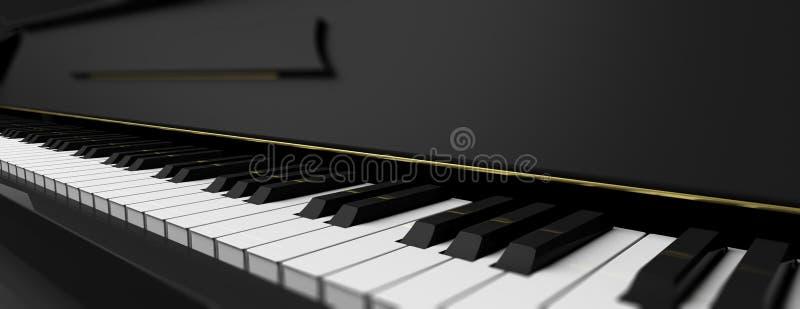 Clés de piano sur le piano noir illustration 3D illustration stock