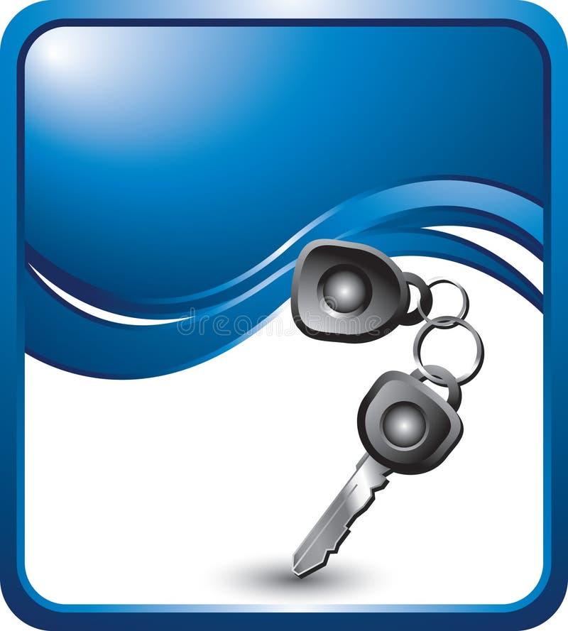 Clés de véhicule sur le fond bleu d'onde illustration stock