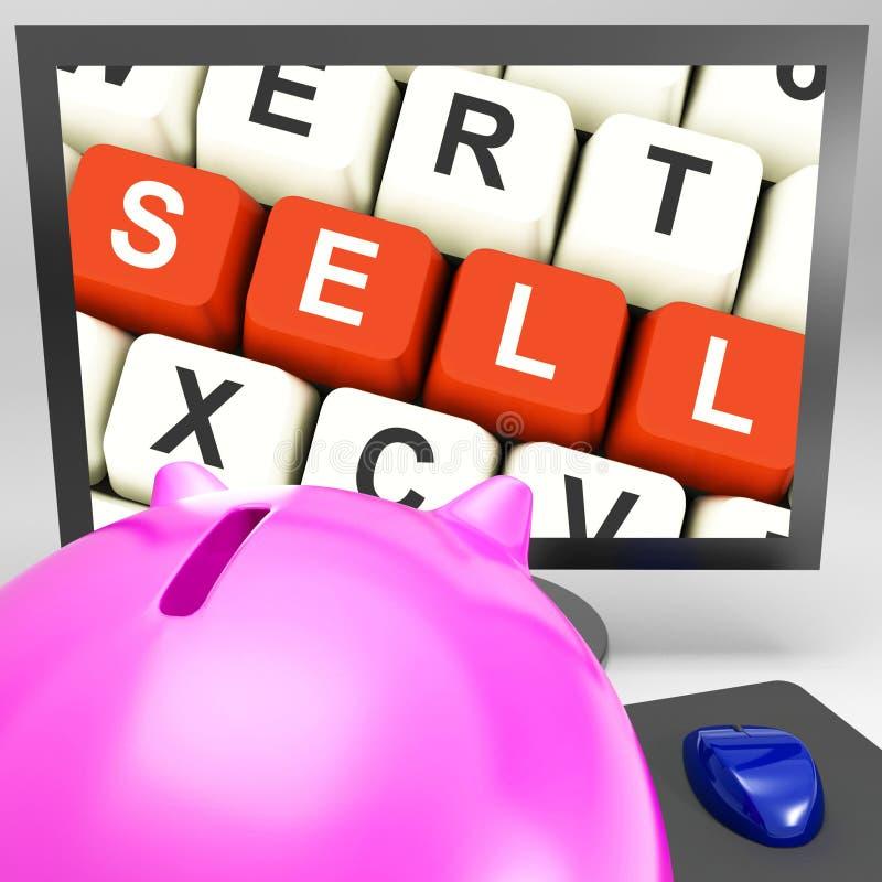 Clés de vente sur le moniteur montrant le marketing en ligne images stock