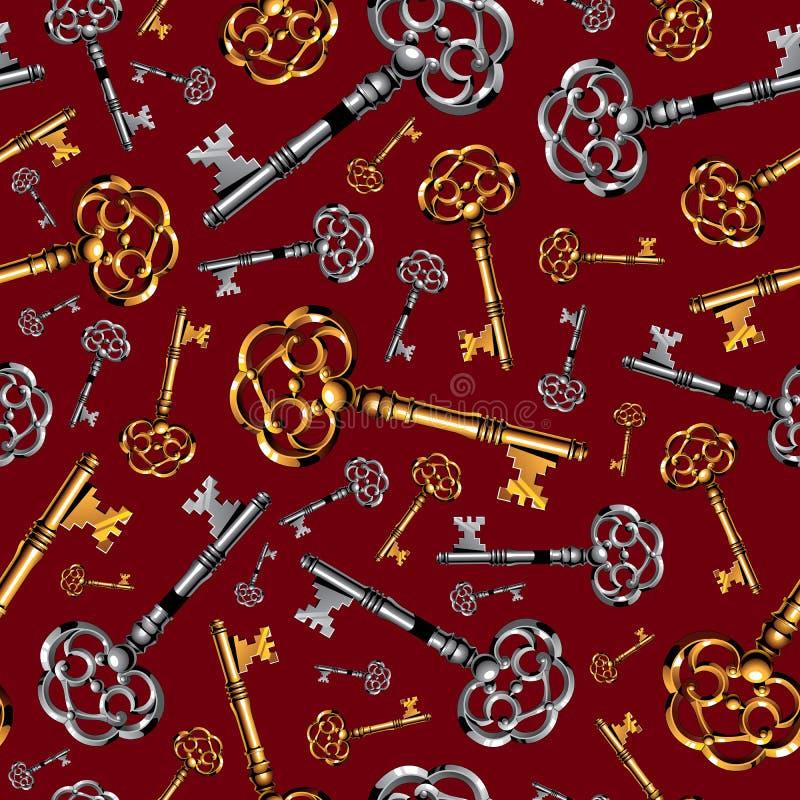 Clés de vintage d'or et d'argent sur rouge foncé illustration de vecteur