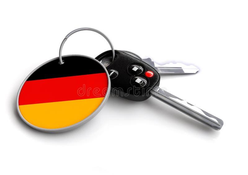 Clés de voiture avec le drapeau de l'Allemagne comme porte-clés illustration stock