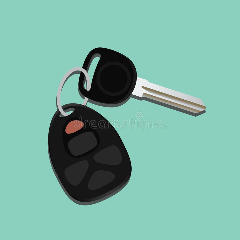 Clés de voiture d'isolement avec le fond noir et vert illustration libre de droits