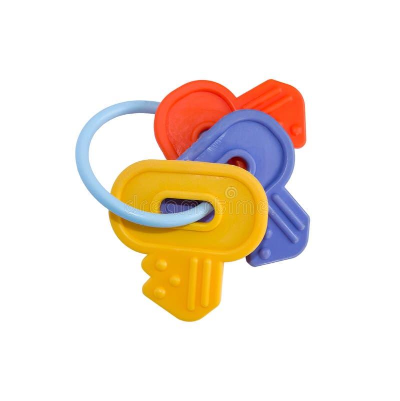 Clés en plastique de jouet d'isolement photographie stock libre de droits
