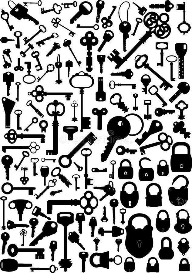 Clés et blocages illustration stock