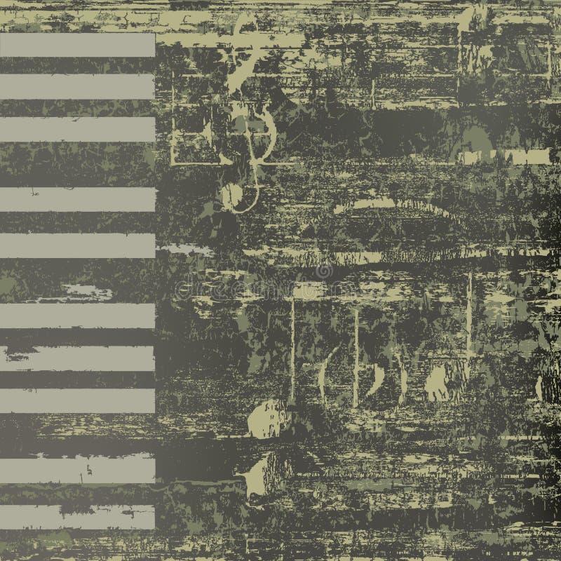 Clés grunges de piano de fond abstrait de jazz illustration libre de droits