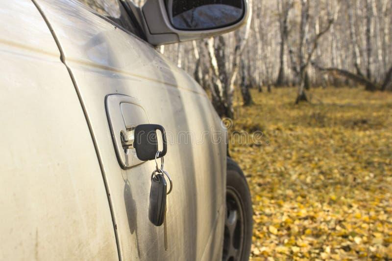 Clés oubliées de voiture dans la porte, un fond d'une forêt trouble d'automne avec un effet de bokeh image libre de droits