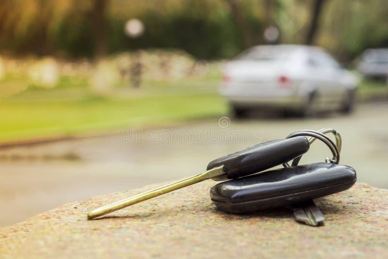 Clés perdues de voiture sur les aiguilles tombées du sapin bleu bokeh arrière de fond de tache floue photographie stock