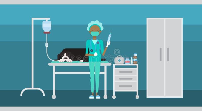 Clínica de Cure Dog In del médico veterinario de la ayuda veterinaria libre illustration