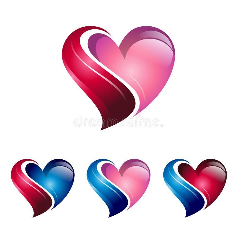 Clínica de lujo fresca Logo Icon del cuidado del corazón 3D ilustración del vector