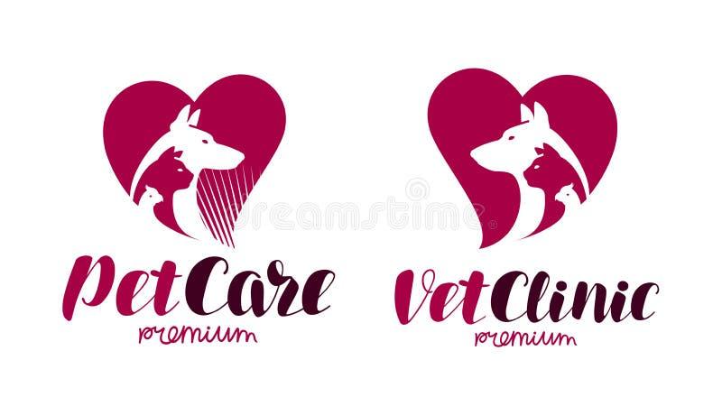 Clínica do veterinário, logotipo da loja de animais de estimação Animais, cão, gato, ícone do papagaio ou etiqueta Ilustração do  ilustração stock