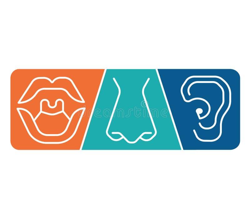Clínica ENT de la plantilla del logotipo Oído de la otorrinolaringología, nariz, especialistas del doctor de la garganta Anatomía ilustración del vector