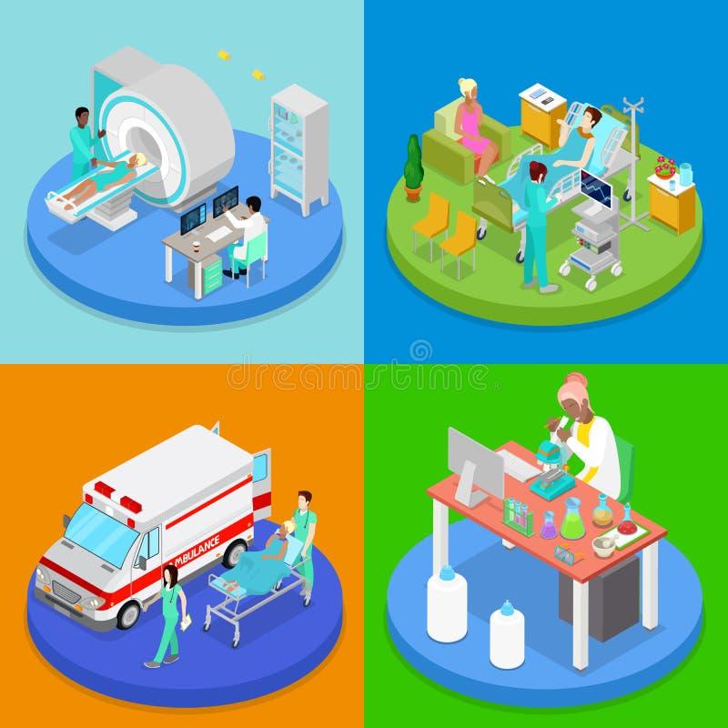 Clínica médica isométrica Concepto del cuidado médico Sitio de hospital, servicio de emergencia de la ambulancia, MRI ilustración del vector