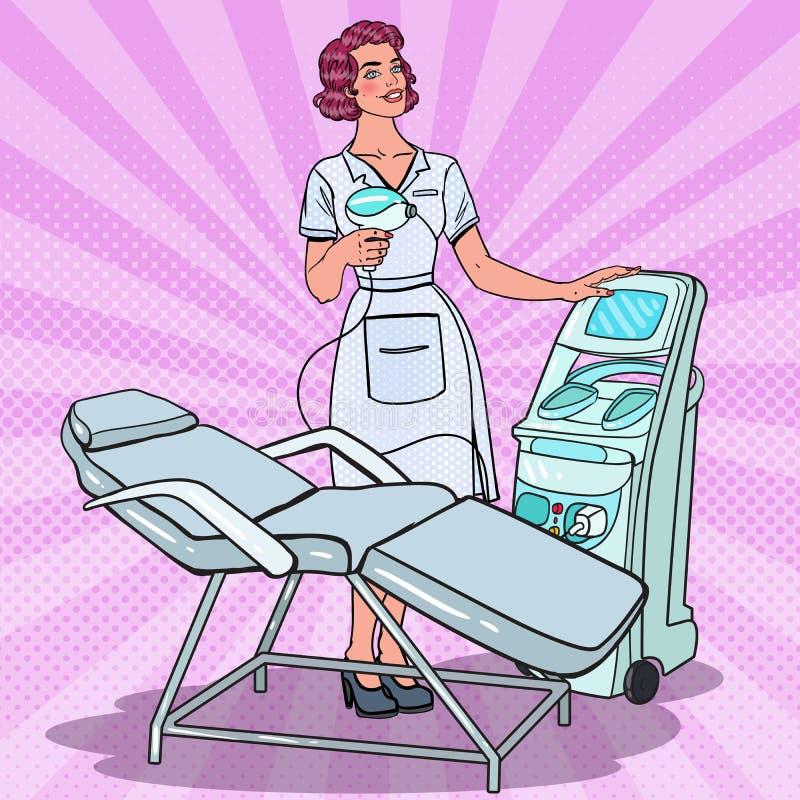 Clínica profesional de la belleza del tratamiento de la piel Estallido Art Female Cosmetologist con la máquina del retiro del las libre illustration