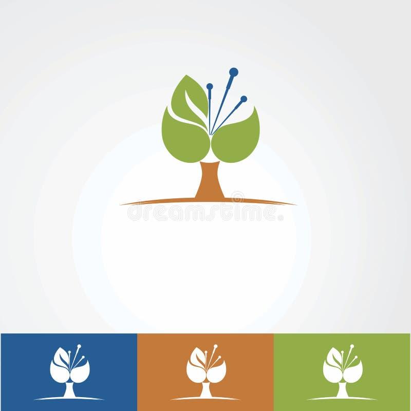 Clínica tradicional de la acupuntura con vector, el icono, el elemento, y la plantilla orgánicos del logotipo de la hoja para la  libre illustration