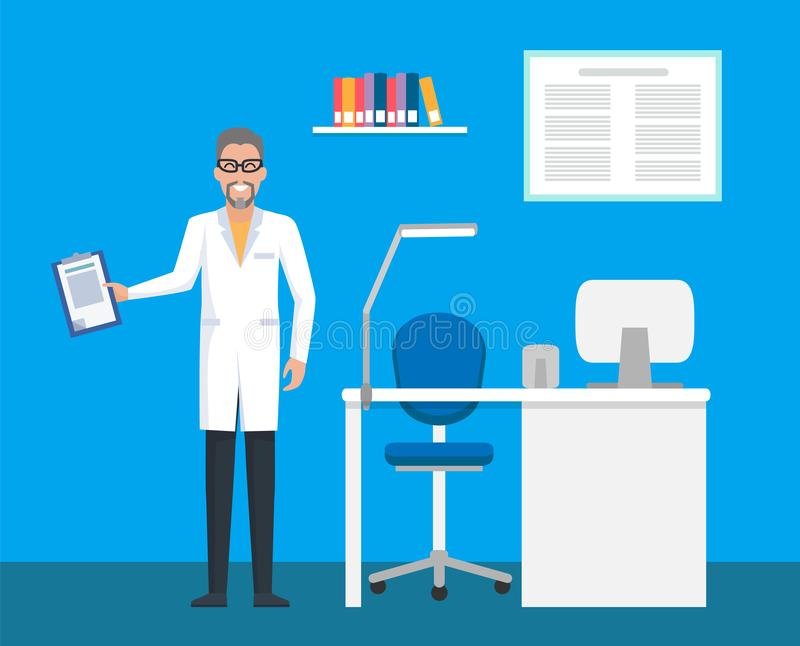Clínica veterinaria, doctor del sitio con el tablero del fichero ilustración del vector