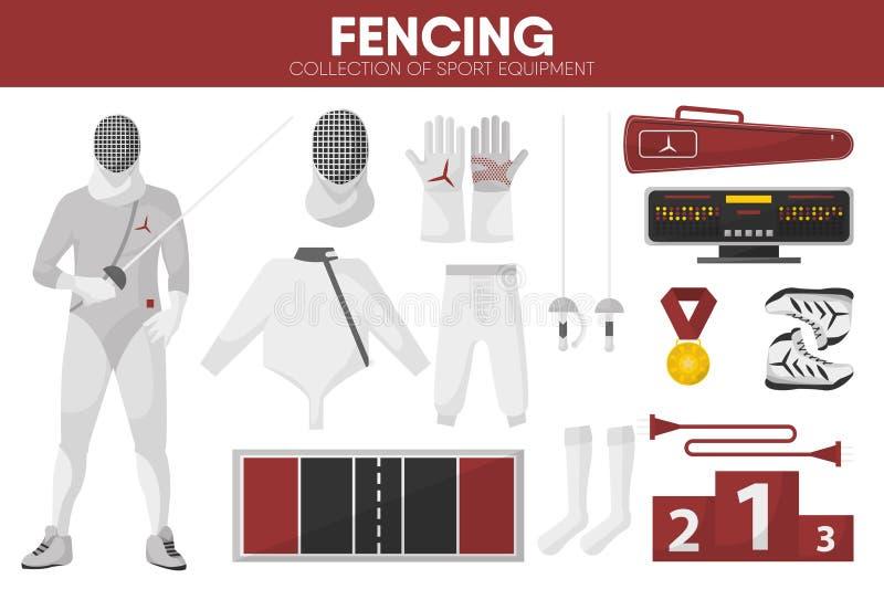 Clôturant les icônes accessoires de vecteur de vêtement d'escrimeur d'épéiste d'équipement de sport réglées illustration de vecteur