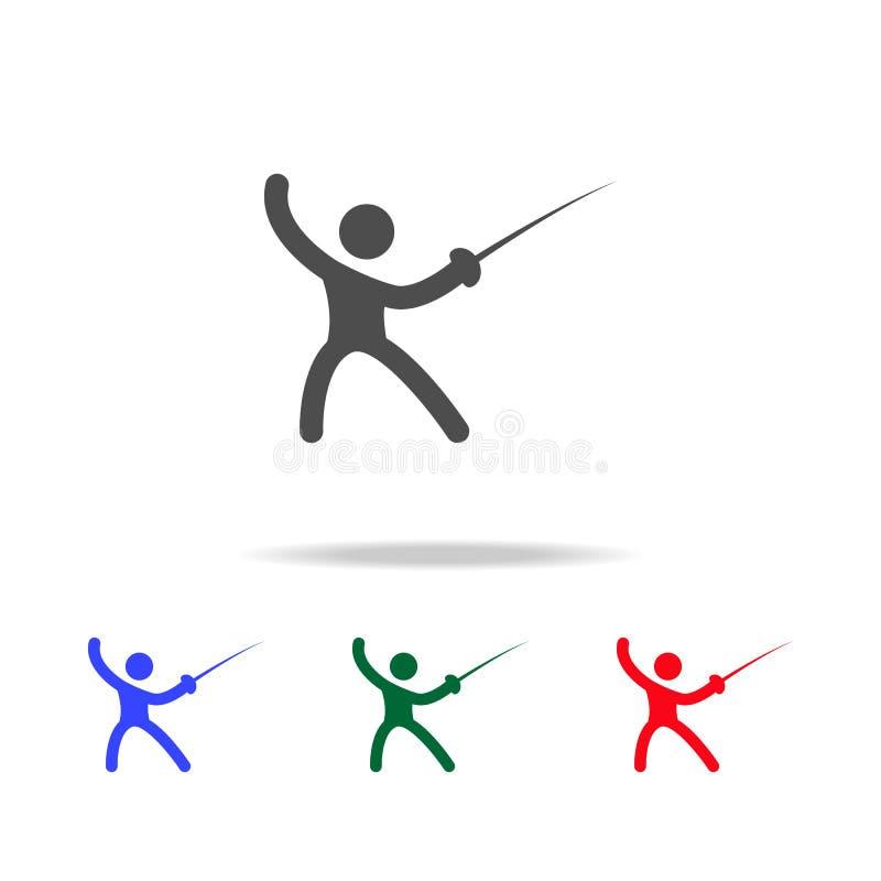 Clôture des icônes Éléments d'élément de sport dans les icônes colorées multi Icône de la meilleure qualité de conception graphiq illustration libre de droits