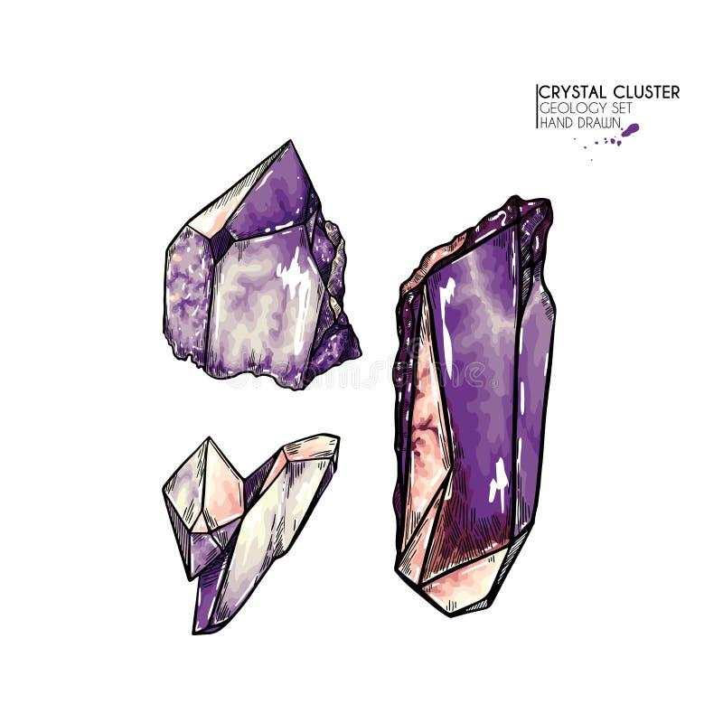 Clúster de cristal dibujado a mano Ilustración mineral del vector Piedra de cuarzo Gema natural aislado Conjunto de geología ilustración del vector