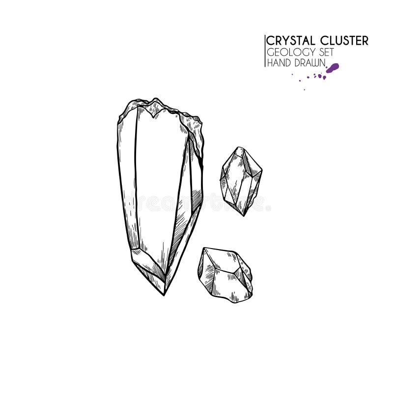 Clúster de cristal dibujado a mano Ilustración mineral del vector Piedra de cuarzo Gema natural aislado Conjunto de geología libre illustration
