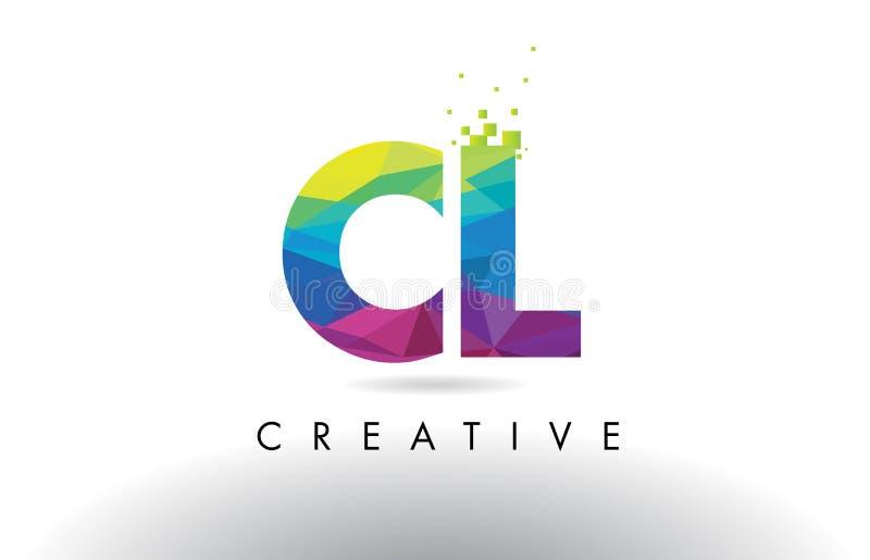 CL c l красочный вектор дизайна треугольников Origami письма иллюстрация штока