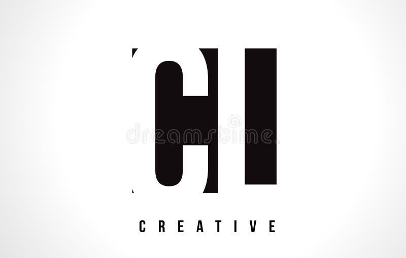 CL C L letra branca Logo Design com quadrado preto ilustração royalty free