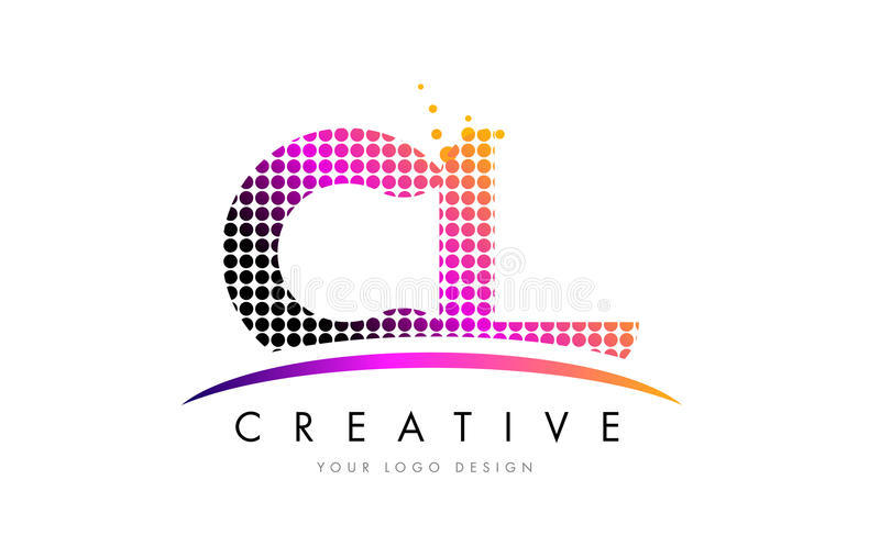 CL C L Letter Logo Design with Magenta Dots and Swoosh. CL C L Dots Letter Logo Design with Magenta Bubble Circles and Swoosh royalty free illustration