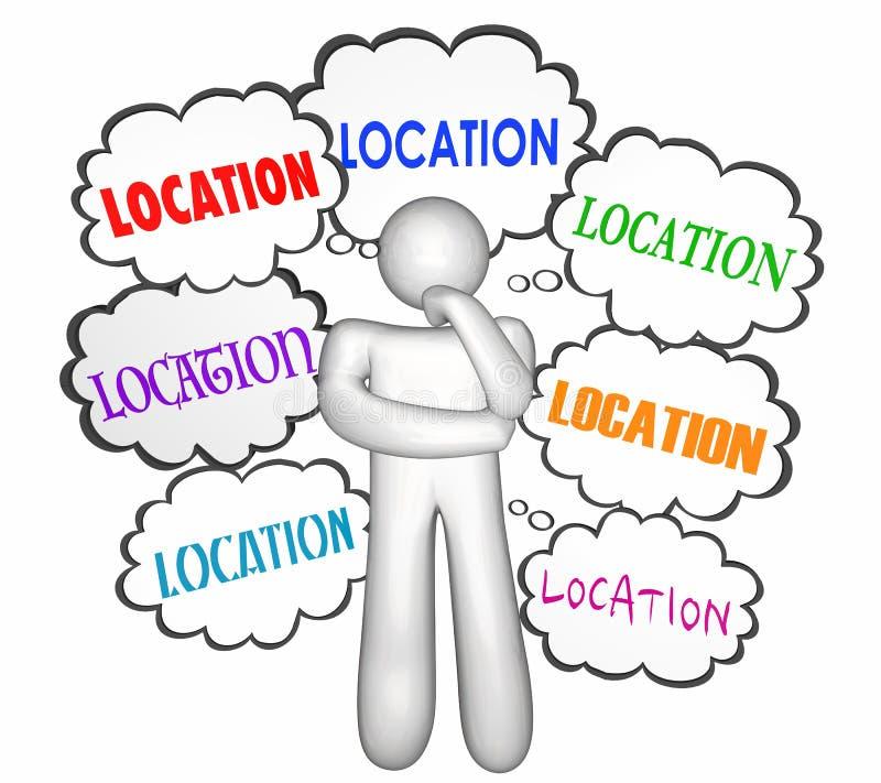 Cl del pensamiento del pensador de Shoping del comprador de la casa del hogar de Real Estate de la ubicación ilustración del vector