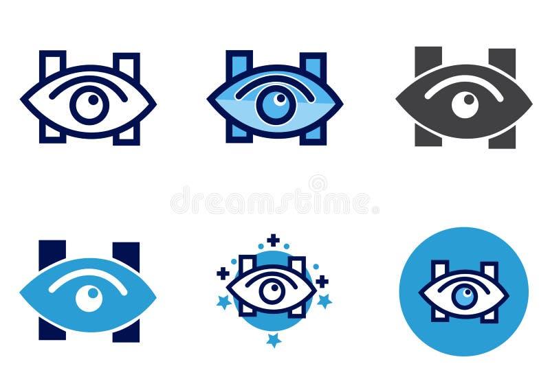 Cl?nica de olho do vetor do ?cone do olho ou sinal do hospital ilustração royalty free