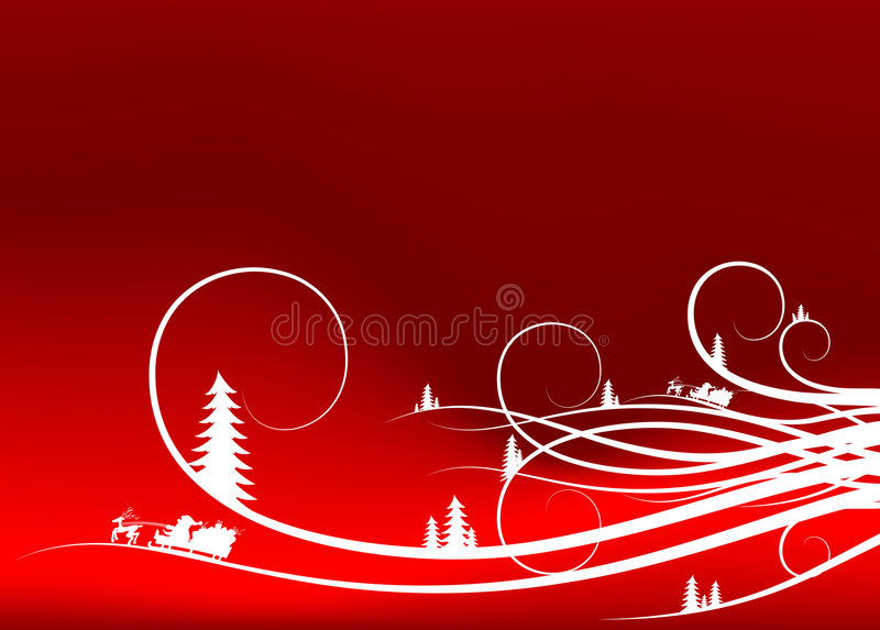 cl tła abstrakcyjna Santa firtree sylwetek zimy. royalty ilustracja