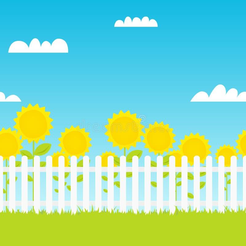 Clôture blanche avec des tournesols illustration libre de droits