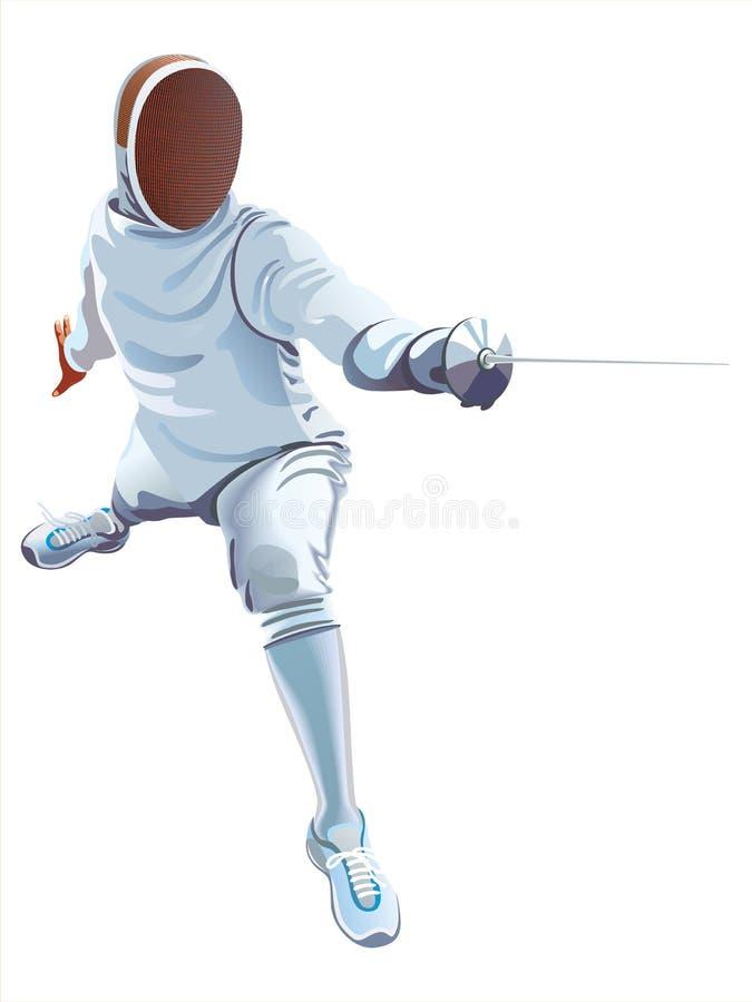 Clôture du joueur Athlètes d'épéiste d'escrimeur sur un fond blanc illustration de vecteur