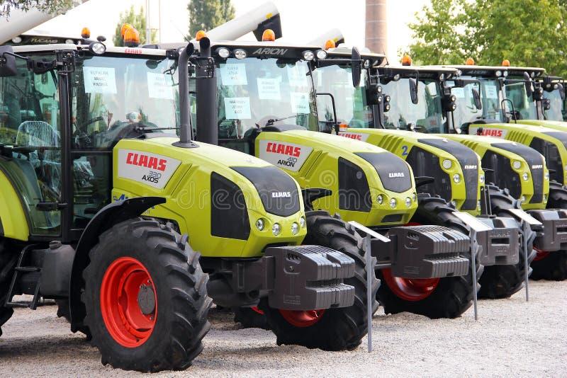 Claas tractors. Display of Class tractors at Agricultural Fair in Novi Sad, Serbia stock photo