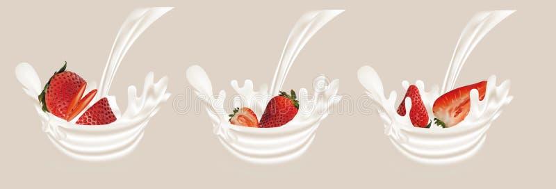 ?claboussez la fraise dans le vecteur 3d r?aliste de lait Fruit cru de fraise La fraise de totalit? et de tranche avec ?clabousse illustration de vecteur